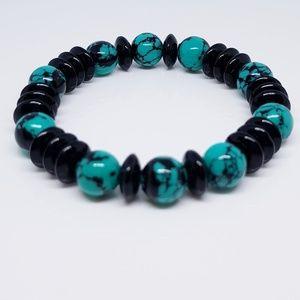 Reconstituted Turquoise & Black Beaded Bracelet